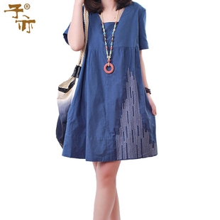 2016 summer new child also Korean yards loose casual cotton square collar short sleeved dress