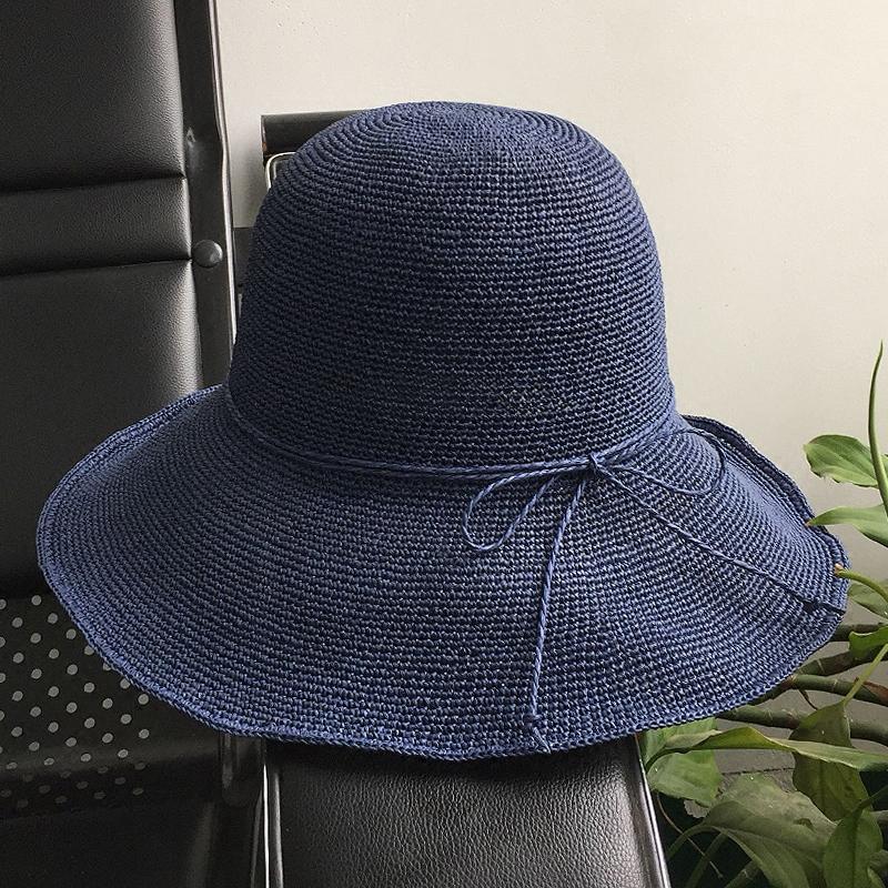 10cm日本拉拉草渔夫帽可折叠遮阳帽防晒草帽女太阳帽夏季女士帽子