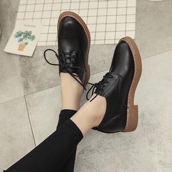 2018春夏新款学院风小皮鞋女系带粗跟圆头单鞋英伦休闲百搭女鞋子