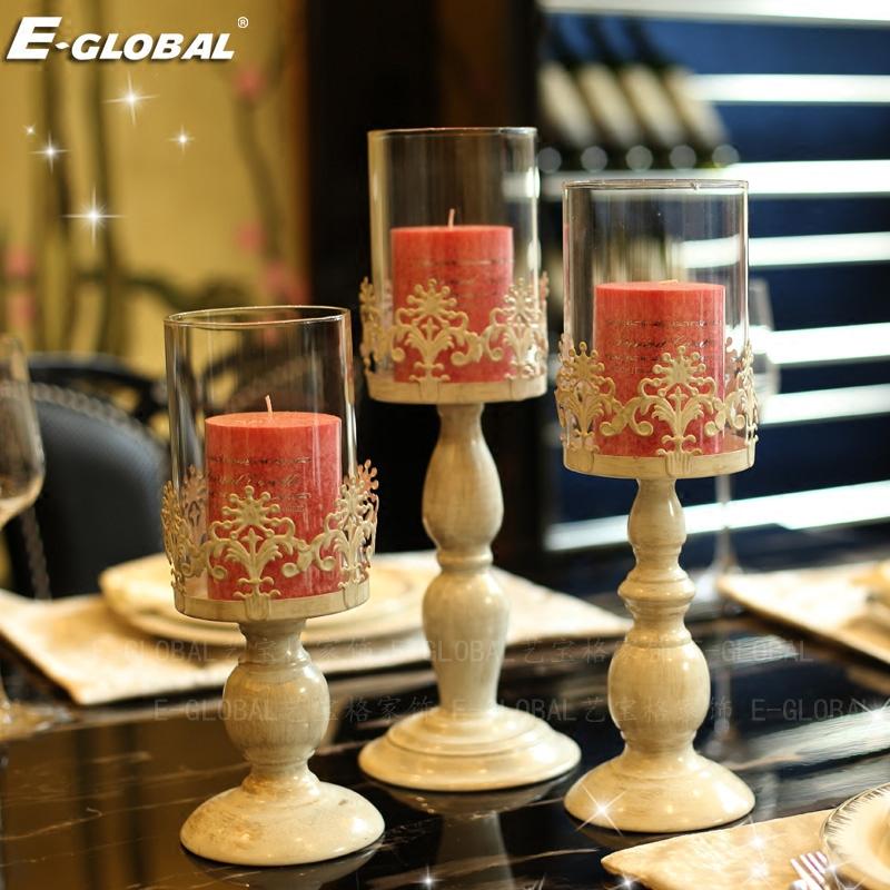 美式浪漫复古白色玻璃铁艺蜡烛台烛光晚餐餐桌情人欧式装饰品摆件