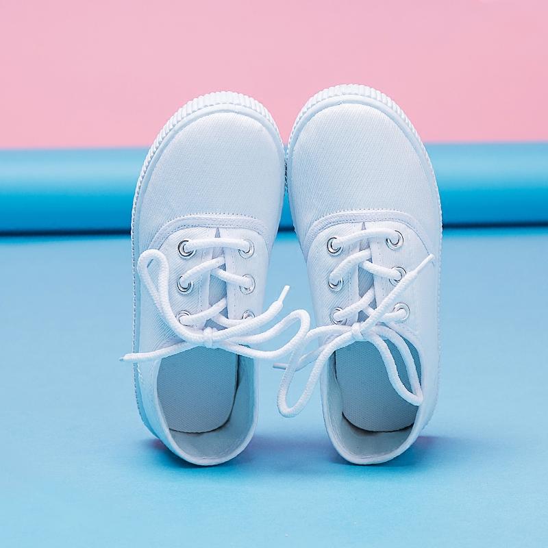 童鞋幼儿园小白鞋儿童白布鞋男童女童学生运动白球鞋舞蹈鞋帆布鞋