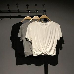 左拓 夏季新品莫代爾超短款修身女裝運動上衣短袖瑜伽T恤衫