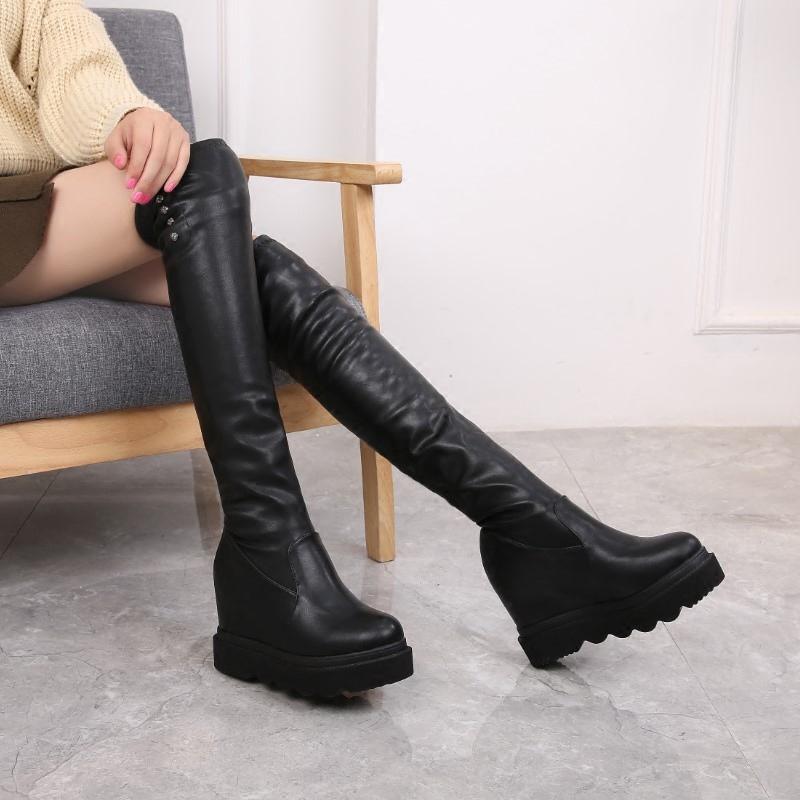 2020欧美高筒弹力靴过膝靴坡跟内增高松糕鞋防水台瘦腿长筒靴女鞋