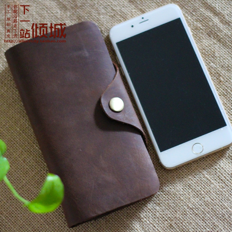 Original retro top layer cowhide leather long mens and womens wallet Crazy Horse Leather Snap Wallet button art card bag