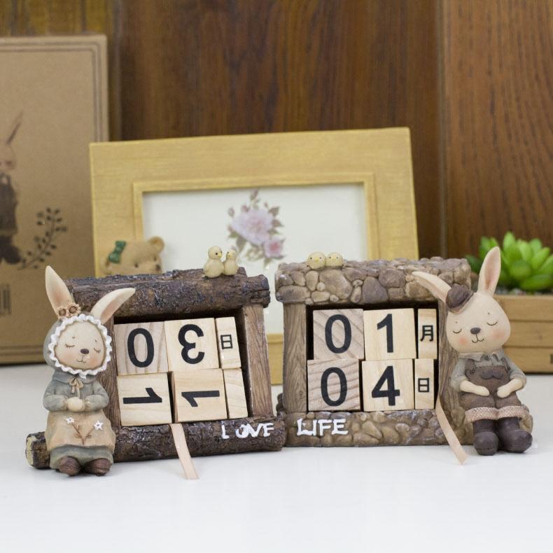Etee смола спальный кролик украшение качели украшения календарь календарь календарь подарок подарок выйти замуж день рождения декоративный дата