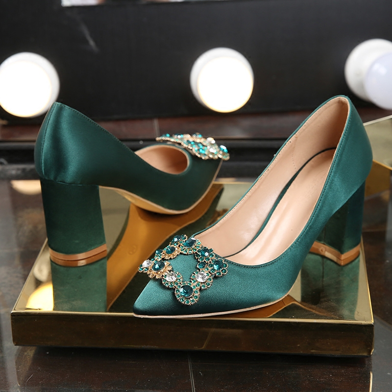 Wedding shoes womens new green bridal shoes in spring 2019 thick heel high heel shoes diamond wedding shoes pregnant womens single shoes