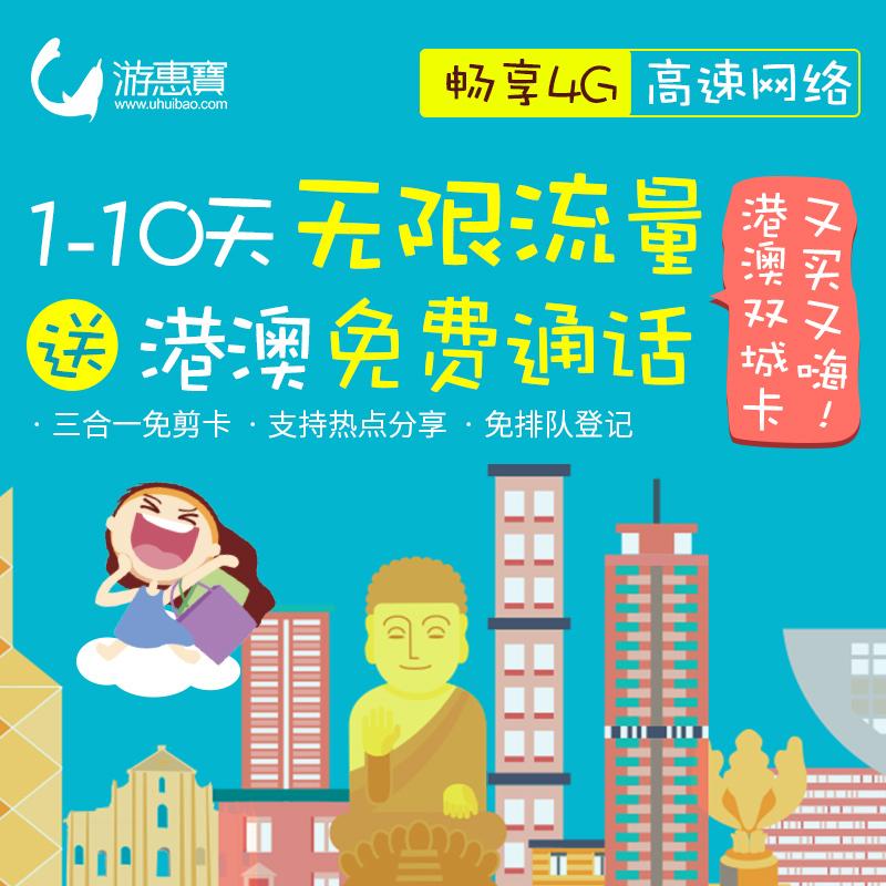 游惠宝香港电话卡 2/3/5/7天4G不限流量旅游港澳手机卡 送取卡针