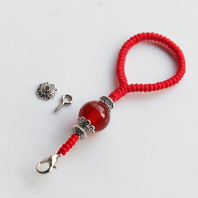 原创手捻葫芦挂绳短纯手工编织金刚结红色绳子羊角钉DIY配件复古