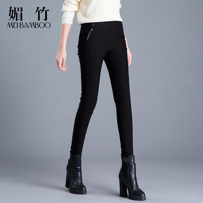Брюки вниз женщина верхняя одежда тонкий талия эластичность белый утка теплый мисс зима брюки карандаш брюки сын волна