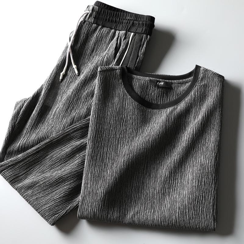 夏季套装时尚型男天丝棉麻做皱提花男士短袖圆领t恤休闲运动套装