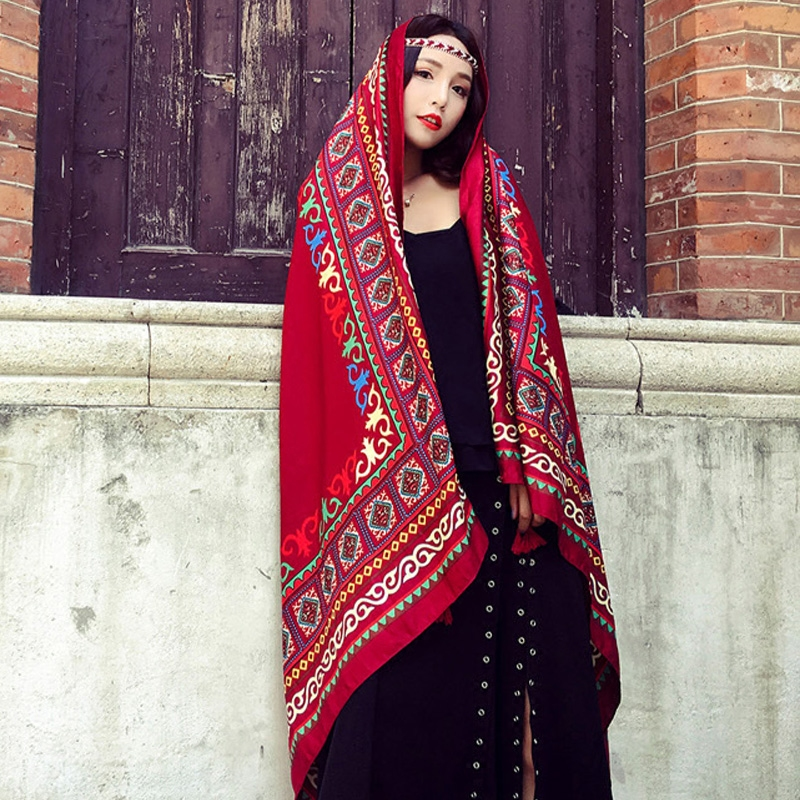 National style red cotton and hemp scarf female spring and autumn desert tourism summer sun protection holiday seaside Silk Scarf Shawl dual purpose