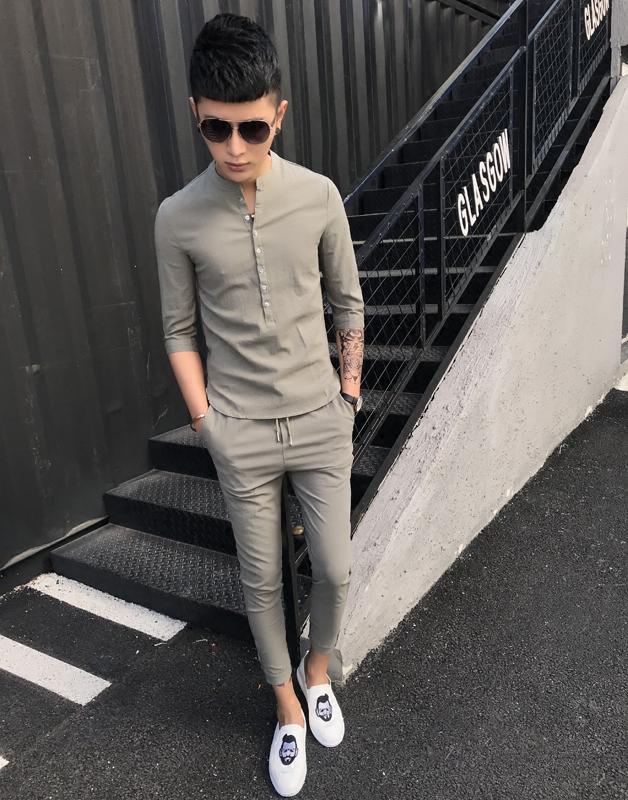 2021款修身中袖九分裤两件套潮流男