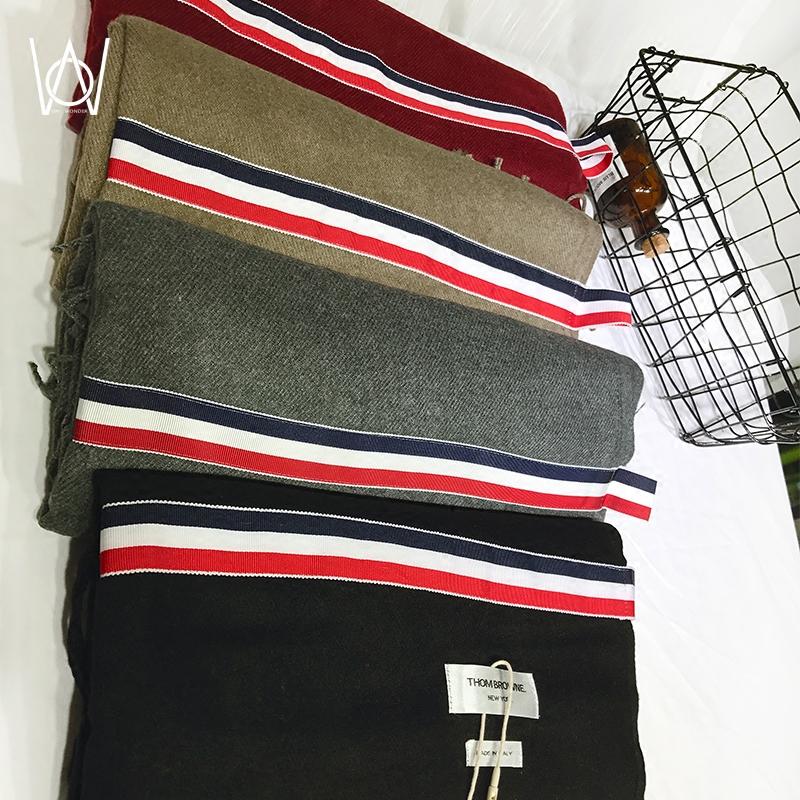 新品欧美加厚保暖拼接条纹织带仿羊绒围巾男女冬季长款韩版百搭