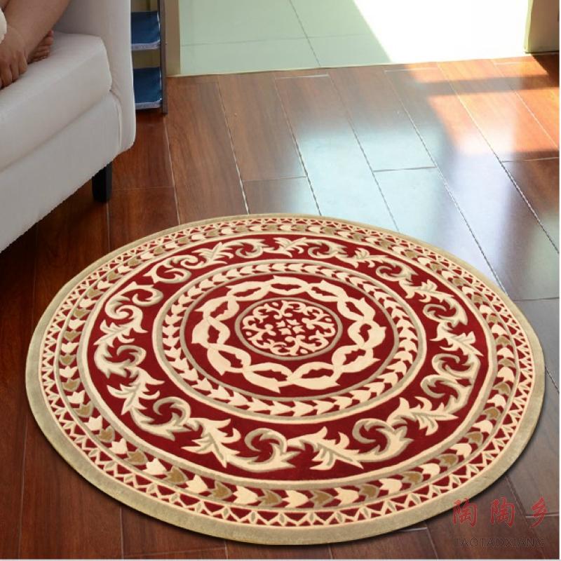 陶陶乡 水洗纯羊毛地毯 圆形客厅茶几地毯 欧式地毯可定制 ttx327