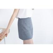 misaz自制夏季复古竖条纹拼接棉麻短裙高腰A字裙通勤百搭半身裙