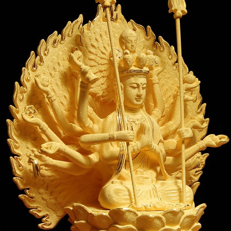 宝相堂 绒沙金千手千眼观音菩萨佛像摆件生肖属鼠本命佛守护神