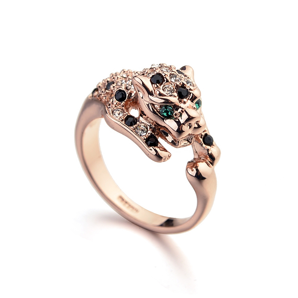 Environmental protection alloy gold plating does not fade national style creative design domineering flash diamond leopard ring female index finger ring