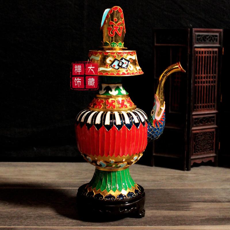 Буддийский медный король синий Восемь благоприятных 贲 Бенба горшок самба бар горшок Чайник Водолей шалфея 净 бар горшок Чайник 供水