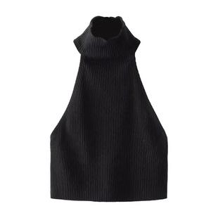 歐美修身無袖小心機吊帶露背短款掛脖抹胸外穿背心裹胸上衣女夏