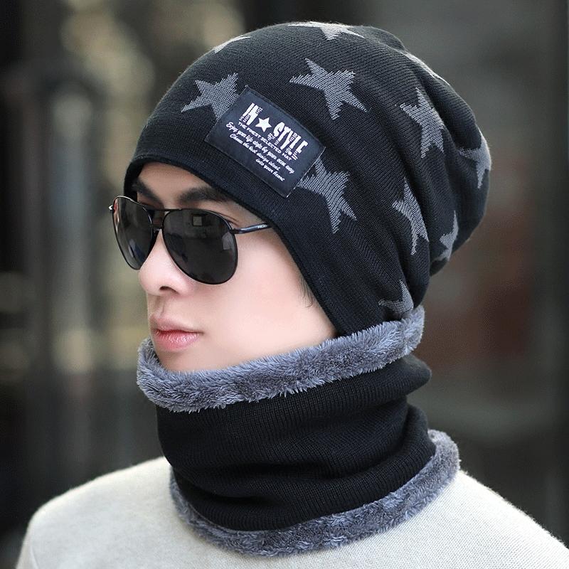 冬季韩版冬天加绒毛线帽男男士帽子有赠品