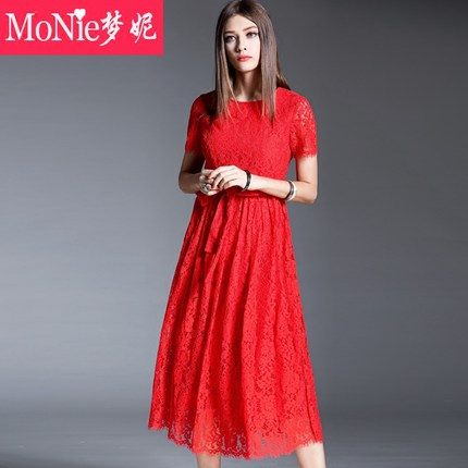 Monie2016 Europe women's summer fashion lace dress waist was thin short-sleeved dress big skirt