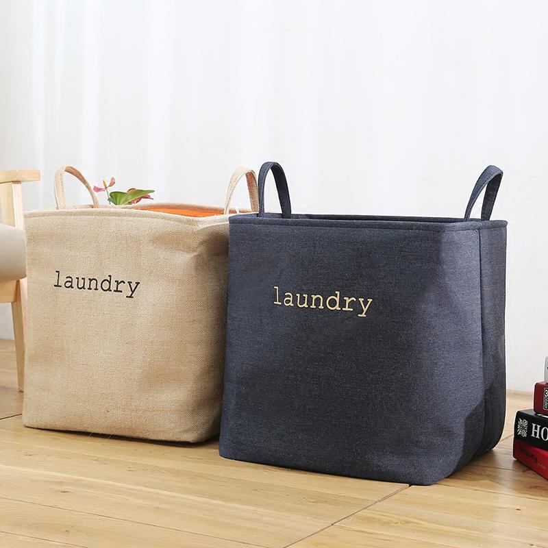 Сложить большой размер мешковина искусство влагостойкий грязный одежда корзины одежда игрушка хранение корзина коробка чистый черный мешок прачечная корзина грязный одежда корзина