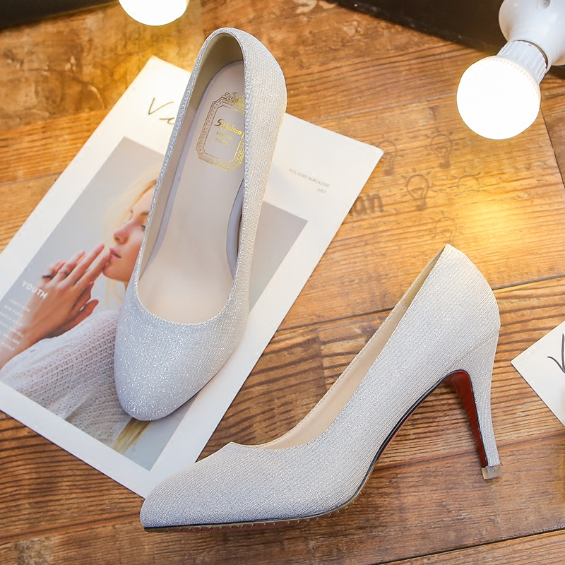 银色亮片高跟鞋女圆头单鞋中跟细跟大码41-43小码女士低帮女鞋图片