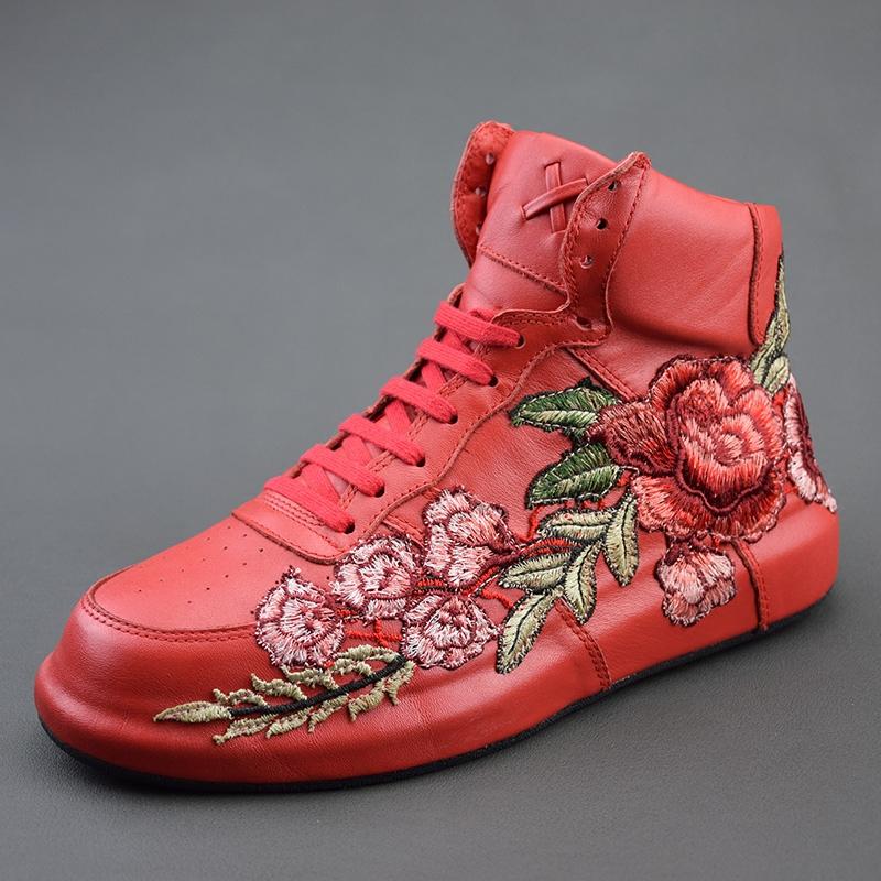 Европейские станции модный и стильный вышивка цветок обувь кружево мужская обувь весна популярный обувь повышать корейский молодежь обувной
