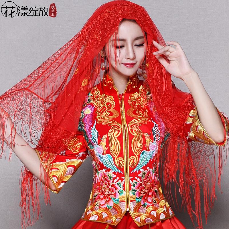 Что-то новое цветение невеста свадьба красное покрытие глава счастливый носовой платок хиджаб кружево хиджаб красный кисточка хиджаб большая крышка глава