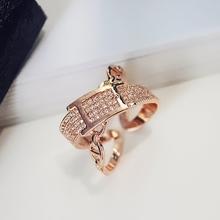 日韩版新款潮人时尚百搭几何开口戒指指环个性简约欧美皮带扣饰品