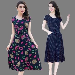 2017夏季新款棉綢連衣裙女中老年媽媽裝長裙寬松顯瘦短袖印花裙子