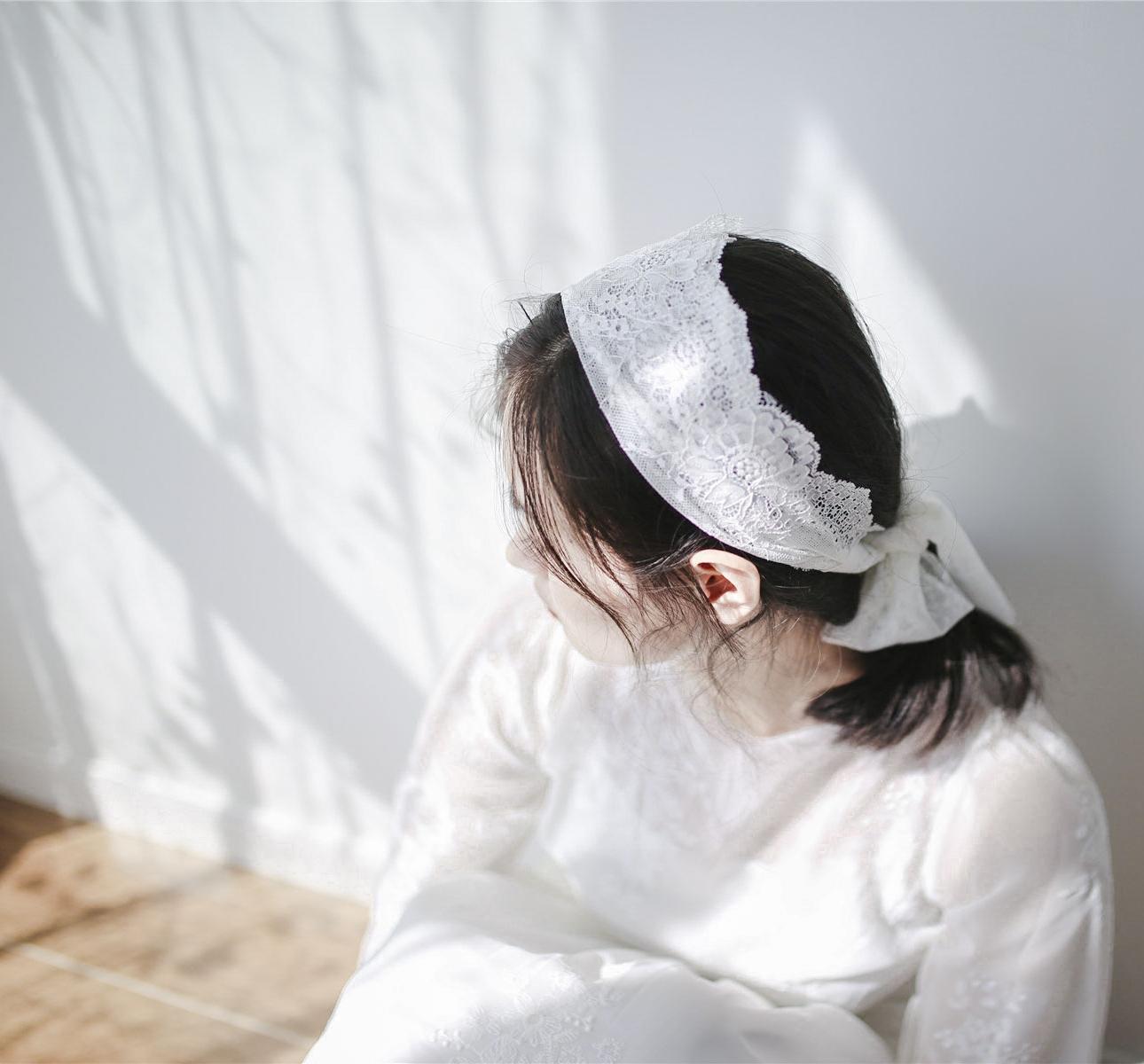12月02日最新优惠复古蕾丝发带 森系新娘发饰头饰摄影道具 白色旅拍照头纱写真配饰