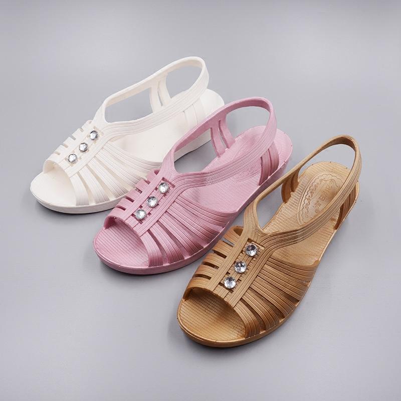 夏季女軟底防滑健步鞋坡跟涼鞋中老年媽媽鞋透氣護士車間工作涼鞋