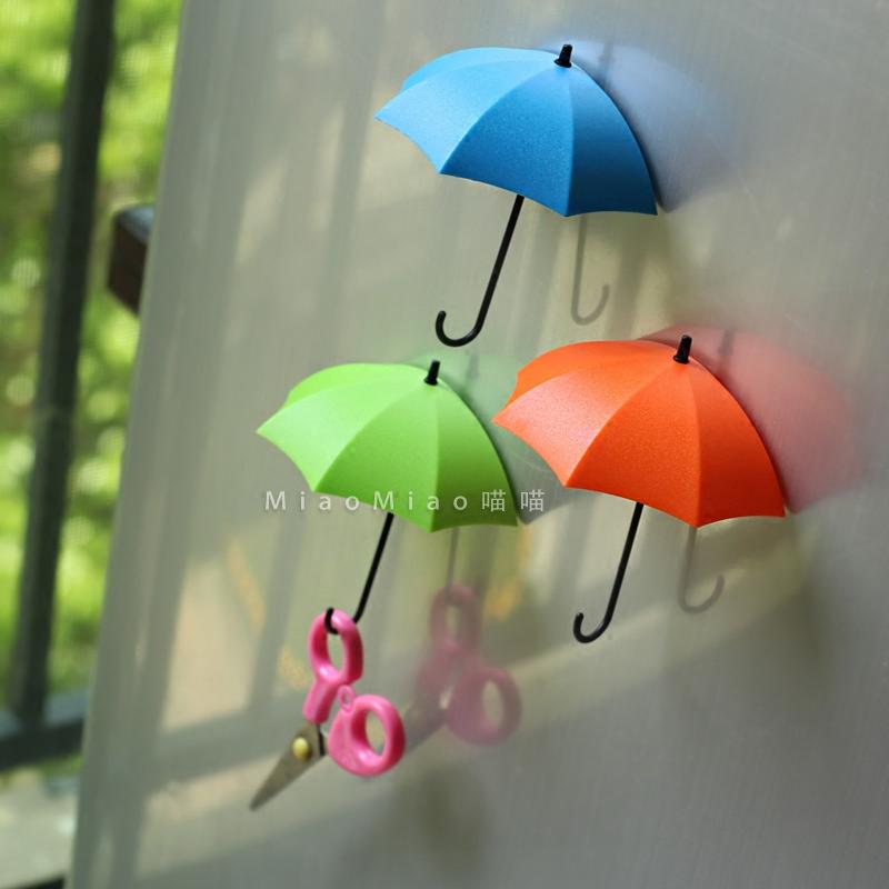 新品冰箱貼磁貼 韓國 3d立體雨傘創意掛鉤強貼磁扣 家居裝飾貼扣