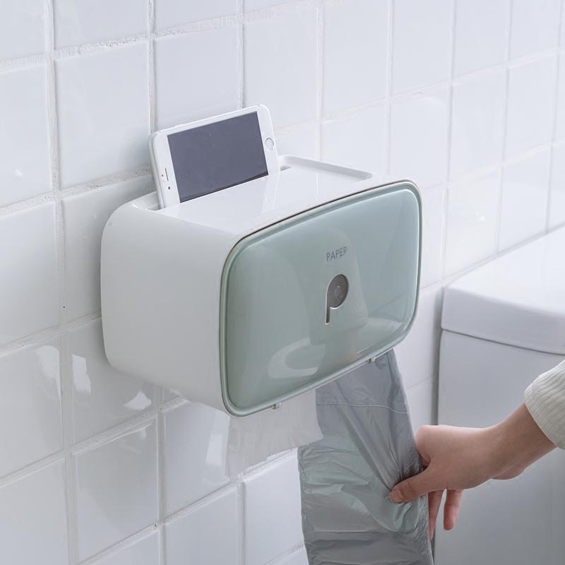 简约创意塑料卫生间纸巾盒厕所厕纸盒免打孔卷纸筒防水纸巾置物架