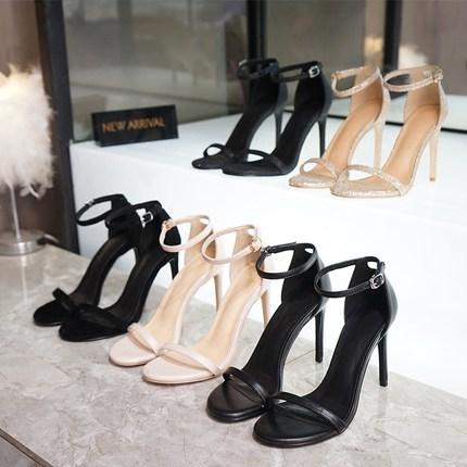 2018夏季新款一字扣带chic凉鞋女细跟露趾气质高跟鞋真皮女鞋小码
