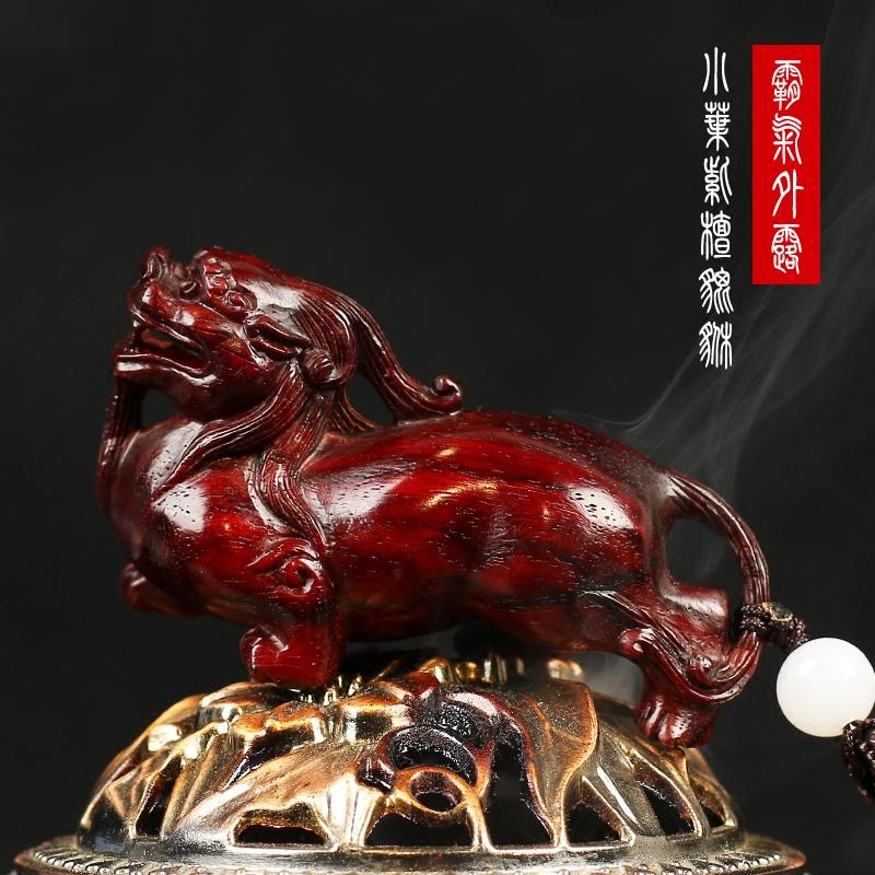 印度小叶紫檀手把件将军貔貅招财钥匙扣老料红木手工精修雕刻摆件