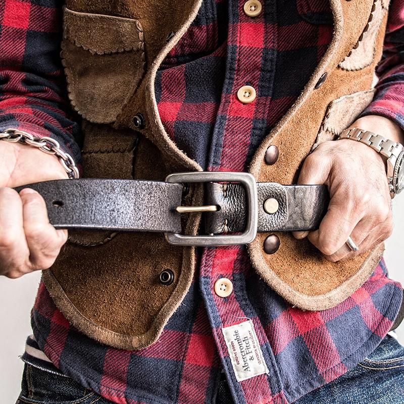 埋不烂 加厚头层牛皮男士手工皮带钢扣铜针腰带复古真皮裤带P21