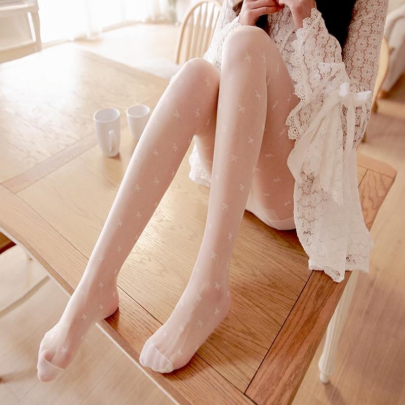 日系夏季女款显瘦蕾丝公主白色丝袜 超薄性感提打底连裤袜袜子