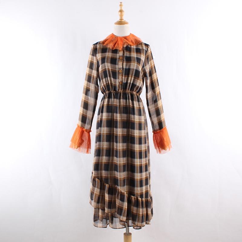 光幕家格子修身雪紡連衣裙女網沙邊小立領長袖收腰荷葉邊裙
