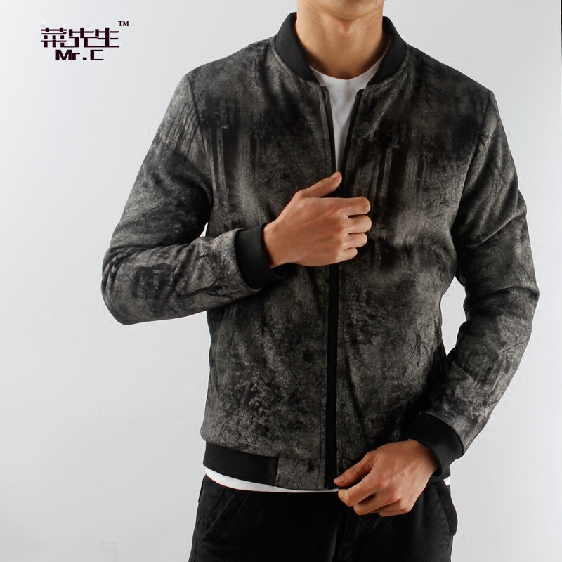 Suede jacket male slim fitting youth thick jacket plush cotton jacket Baseball Jacket suede coat man