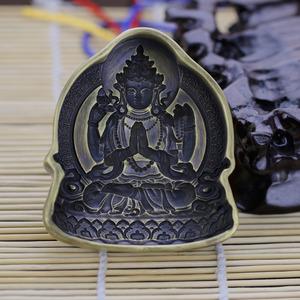 藏传佛教四臂观音守护神擦擦模具黄铜工艺品宗教用品供奉收藏精品