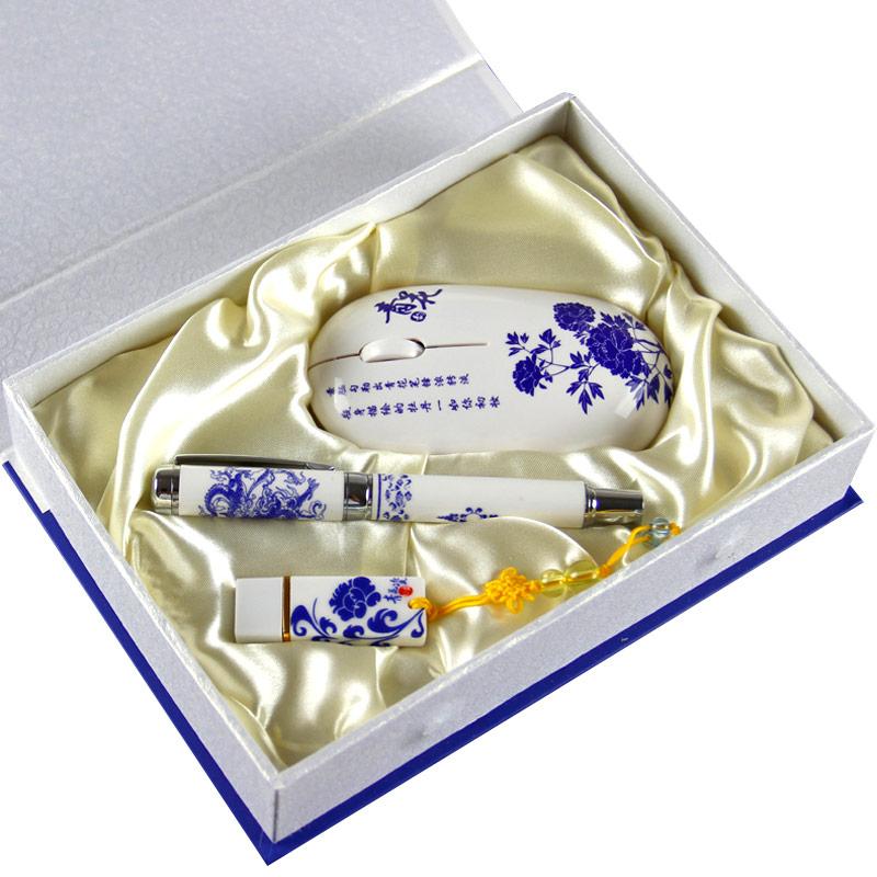 热销 青花瓷笔/u盘/鼠标三件套装 中国风送老外商务礼品特色工艺