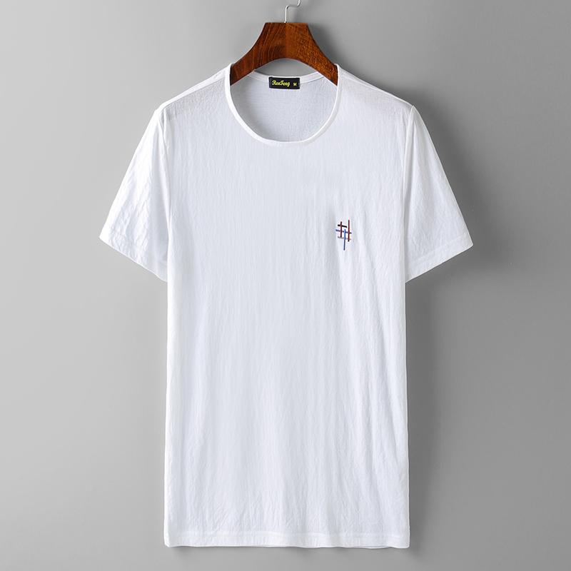 诗森堡夏季新品男士丝光圆领短袖T恤绣标宽松男装半袖白色体恤衫