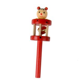 婴幼儿玩具宝宝木制手摇铃中间铃新生儿卡通木偶摇铃儿童铃铛新款