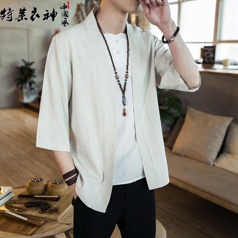 夏季中国风亚麻短袖衬衫男青年纯色麻料七分袖衬衣宽松大码汉服男