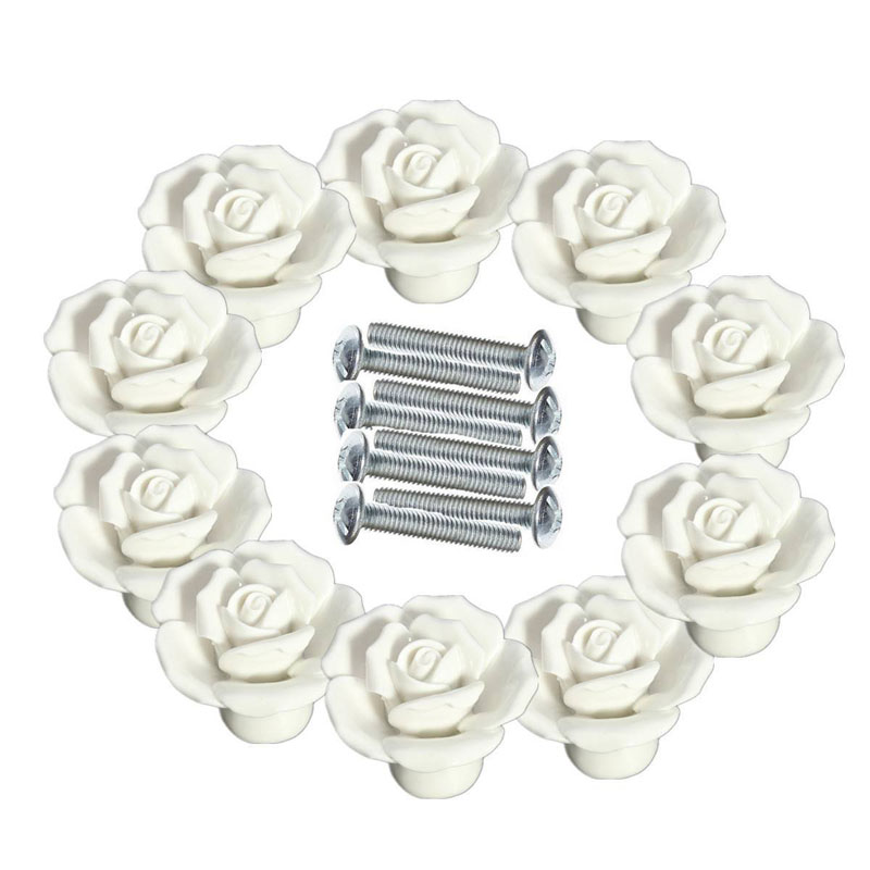10pcs Vintage Rose Flower Ceramic Door Knobs Handle Drawer W