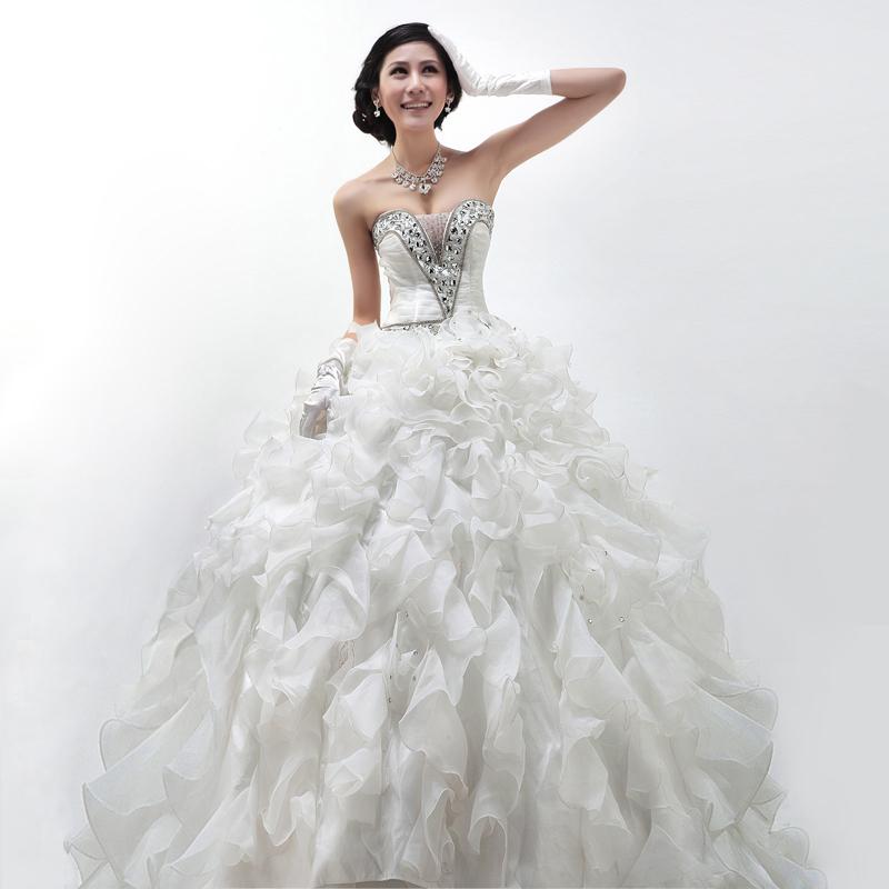 Серии Свадебный бутик высокого класса трубки top выровнять несколько пряжи пушистой свадьба для новобрачных принцесса FQ14