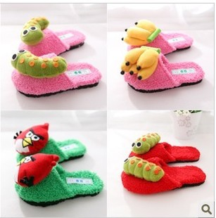2012 winter new children boys girls shoes cute three dimensional cartoon plush home slippers shoes