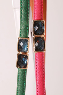 Foreign gem buckle pigskin leather candy color super fantastic aesthetic line diamond belt waist chain Ms New